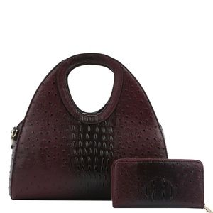 Alligator & Ostrich Handbag & Wallet Set